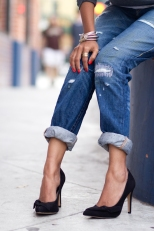 Anine Bing Sweatshirt + True Religion Boyfriend jeans + Sole Society Elise Pumps + Jewel Be Mine + Karen London -9
