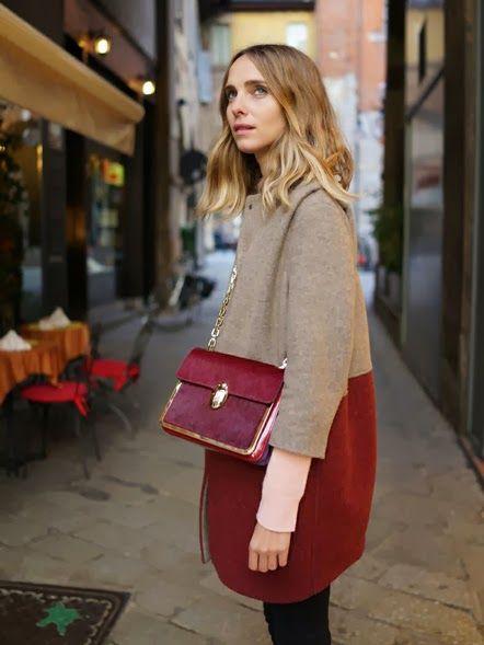 camel burgundy street style