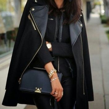 street style total black fashion
