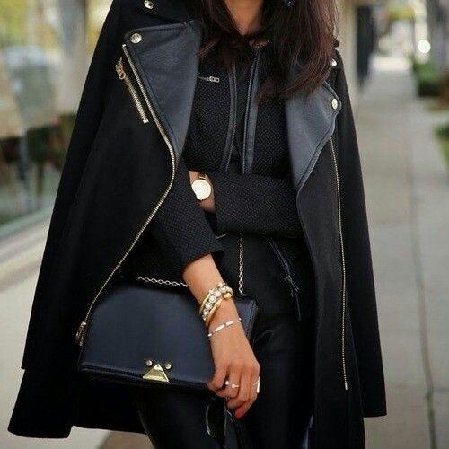 street style total black fashion