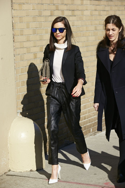 track leather pants street style