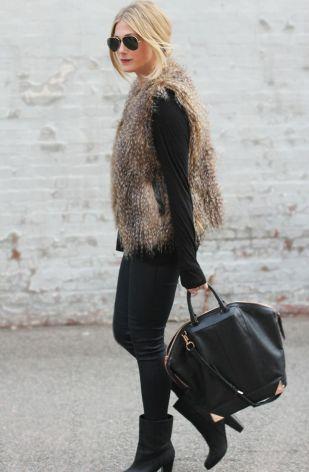 colete de pêlo, looks, street style, fur vest, outfits