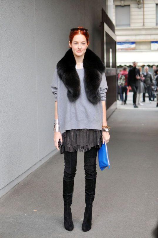 street style fur collar gola estola pêlo