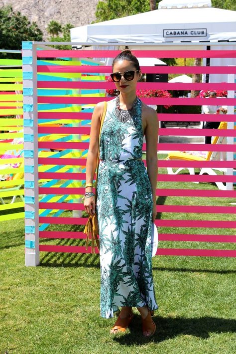 Jamie-Chung-paired-her-leaf-print-Mara-Hoffman-maxi-dress