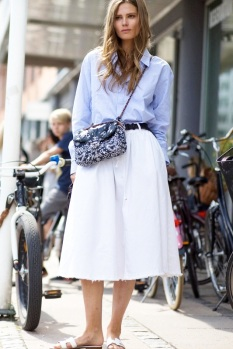 Le-Fashion-Blog-Model-Off-Duty-Street-Style-Caroline-Brasch-Nielsen-Blue-Shirt-Preppy-Summer-Chanel-Paisley-Bag-White-Skirt-Highsnobiety