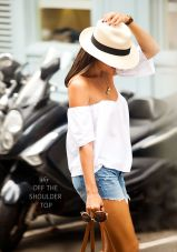 denim shorts, summer, hat, summer, bag, beach, street style, fashion, looks, outfit, inspiration, off shoulder