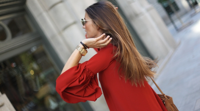 red dress zara, street style, fashion, outfit, look, vestido, zara