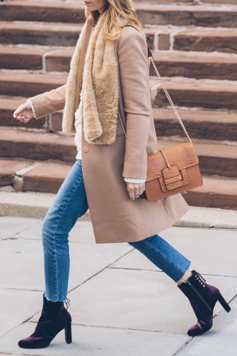 jess-ann-kirby-camel-wool-coat-faux-fur-scarf-velvet-boots-raw-hem-jeans