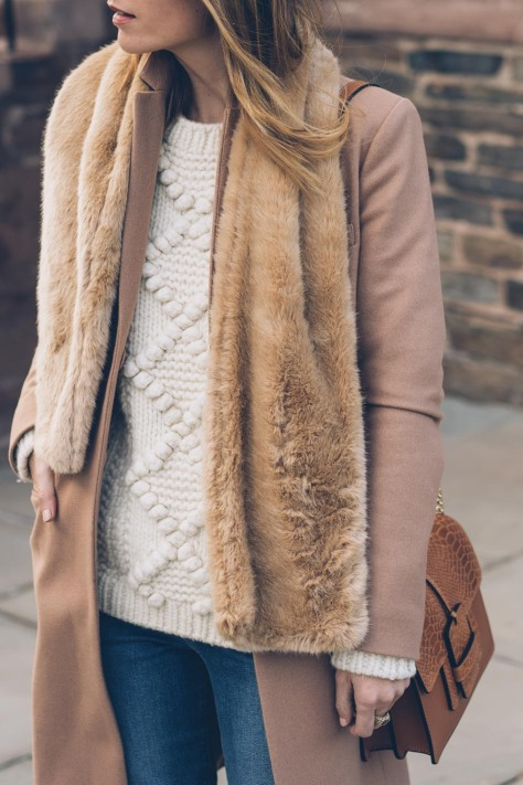 jess-ann-kirby-faux-fur-scarf-camel-coat-llbean-signature-sweater